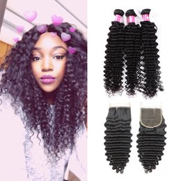 Wholesale Soft Bundle - 7A Deep Curly Virgin Brazilian Hair Bundles With Lace Closure Unprocessed Peruvian Human Hair Weaves With Closure 1B Black Soft Hair Weft