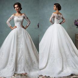 Wholesale Lace Wedding Gown Detachable Shoulder - 2017Hot Elegant Lace Wedding Dresses Off Shoulder Long Sleeve Mermaid Bridal Gowns With Applique Detachable Bridal Dress