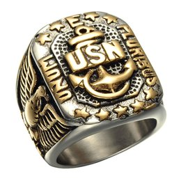 Wholesale Anchor Rings For Men - CWFY Biker Two Tone Gold Color Titanium Stainless Steel USN Anchor US Navy Fingers Rings for Men Jewelry