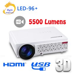 Wholesale new lcd 3d hd - 2017 New LED96+ LED Projector 1080P 5500lumens Video HDMI USB 1280x800 Full HD Home theater projector proyector 3D projector