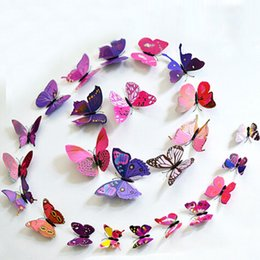 Wholesale Military Switches - (1set=12pcs) Hot Sale! 12pcs Fashion Design 3D Butterfly Wall Fridge Magnet Sticker Home Art Applique Decoration HDE_004