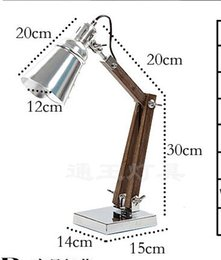 Wholesale Office Desk Styles - 220V.E14.40W Creative Personality Loft Retro Industrial Style Wooden Folding Arm Table Desk Reading Office Lights Lamp Indoor Lighting