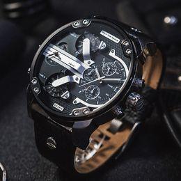 Wholesale Leather Mens Watch Strap - Famous Fashion Luxury Brand Mens Watches Military Sport Wristwatch Leather Strap Date Clock Men Quartz Watch Male Clock Relogio Masculino
