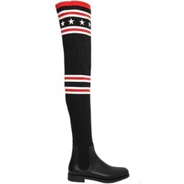 Wholesale Wool Boots For Women - Fashion Brand Give Women's Thigh-High Boots,Outdoor Winter Boots For Women,Knitted Wool Boots in Black Flat Heel Over-the-Knee Boot,SZ:35-40