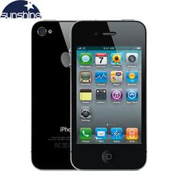 "Teléfonos celulares de apple online-Usado Unlocked Original Apple iPhone 4 Mobile Phone 3.5 ""IPS Usado Teléfono GPS iOS Smartphone Multi-Language Cell Phones"