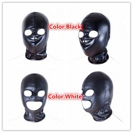 2017 masque pour les yeux bondage New Open Eye Bondage Soft pu Cuir Masque Sexe Cosplay Game Blindfold Sexy Head Hood pour Couple Party Adulte Produit SM Tool Vente masque pour les yeux bondage sortie