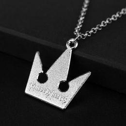 Wholesale Poseidon Necklace - Trendy Silver Plated Alloy children game Poseidon Trident Necklace Sora Kingdom Hearts Necklace Women jigsaw Crown Pendant Necklace 2017 412