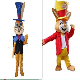Wholesale Red Rabbit Costume - Rabbit Mascot Costumes two color Rabbit Cartoon Costume Adult Size Animal Small Hat Rabbit Cartoon Mascot Costumes