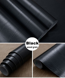 Wholesale Renovation Kitchen - Black matt wood grain Furniture renovation pvc self-adhesion wallpaper kitchen cabinet wardrobe door Desktop speakers stickers decoration