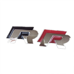 Wholesale Chrome Stickers - 10PCS LOT Car-styling High quality 3D R Chrome Emblems For VW Golf 7 Black and Red Car Badge Stckers Bumper Stickers AUTO Accessories