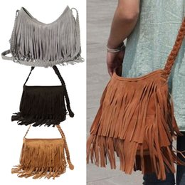 Wholesale Tassel Fringe Handbag - Wholesale- 2017 Fashion Women's Suede Weave Tassel Shoulder Bag Messenger Bag Fringe Handbags LBY2017