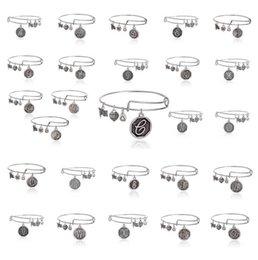 Wholesale Alex Ani Bracelet Silver - 26 letter Alex and Ani adjustable Charm statement bracelets gold silver Wiring expandable pendant bangles band cuffs Christmas gift