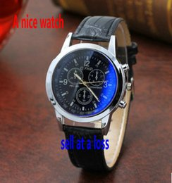 Wholesale Gentleman Watches - 2017 A nice watch new fashion Three eyes Blue glass Belt gentleman Quartz watch special promotion Holiday gifts