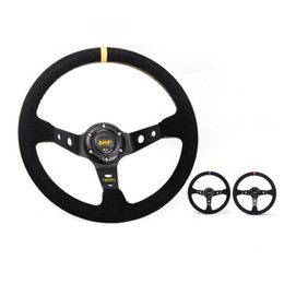 Wholesale Steering Wheel 14 Inch - OMP JDM Style 14 inch 350mm Universal Car Suede Leather Steering Wheels Sport Racing Steering Wheel 3 inch Deep Dish