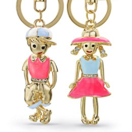 Llaveros para chicas chicas online-Girl Boy For Lovers Gift Llaveros Anillos Titulares Parejas Crystal Bag Colgante Para Llaveros de Coches KeyChains Chaveiro K249