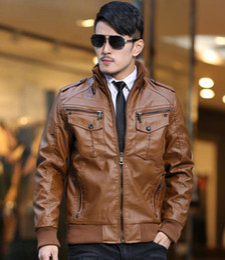 Wholesale Led Leather Jacket - New winter men's Slim leather jacket men plus velvet thickening motoodezhda lead singer dress costumes  M-4XL