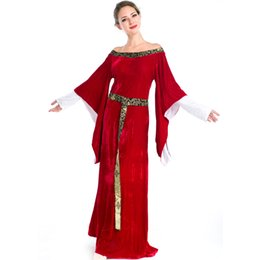 Wholesale Women Victorian Halloween Costumes - New Vintage Medieval Renaissance Victorian Luxury Cosplay Costumes Halloween Red Long Dress European Royal Retro Court Dress A158716