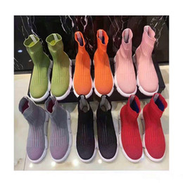 Wholesale Elastic Net Fabric - Free shipping colorful knitted wool elastic sock breathable stretchable ankle boots