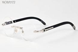 Wholesale Orange Color Fashion Eyeglasses - black buffalo horn glasses 2017 brand designer sunglasses for men round circle lenses wood frame eyeglasses women rimless sunglasses