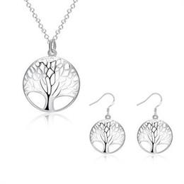 Wholesale Pierced Earring Tree - Fashion women 925 silver plated Pierced Tree of Life pendant charm necklace earrings jewelry set LKNSPCS828