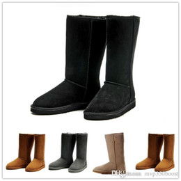 Wholesale Chestnut Snow Boots - 2017 New High Quality Women's Australia Classic kneel Boots Ankle boots Black Grey chestnut navy Women boots US 5--10