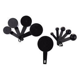 Wholesale Black Baking Cups - Wholesale-Affordable Plastic MeasuRing Spoons Cups MeasuRing Set For Baking Coffee-Black