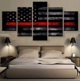 Wholesale Abstract Lines Modern Art Canvas - Thin Red Line American Flag-1,5 Pieces Home Decor HD Printed Modern Art Painting on Canvas (Unframed Framed)