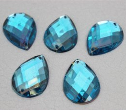Wholesale Sew Rhinestones 18x25mm - 18x25mm Crystal 50pcs lot Drip Acrylic Flatback Rhinestone Sew On (2 holes) Free Shipping ZZ128 Rhinestones Cheap Rhinestones