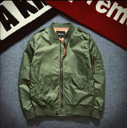 Wholesale Flying Stand - Man thin Jacket Puffer Style Thick Army Green Military Flying Ma-1 Flight Jacket Pilot Air Force Men Fashion Bomber Jacket