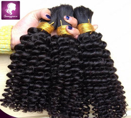 Wholesale Human Hair Weave For Braiding - cheap #1B hair weaving bundles deep wave hair extensions without weft brazilian curly bulk human hair for braiding black women