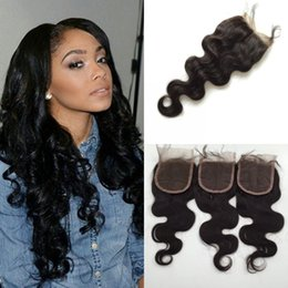 Wholesale Top Hair Hairpieces - 3 Way Part Lace Top Closure(4x4) Hairpieces Brazilian Virgin Human Hair Extensions Body Wave Natural Color Lace Front Closure