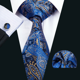 Wholesale Mens Fashion Business - Classic Silk Mens Necktie Blue Necktie Sets Paisley Men Ties Tie Hankerchief Cufflinks Set Jacquard Woven Meeting Business Party Gift N-1447