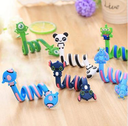 2018 animales con cable Cable largo Winder Cute Cartoon Animal Auricular Auricular Organizador titular de alambre Acción figuras de juguete SetLong Cable Winder Cute Cartoon Animal H rebajas animales con cable