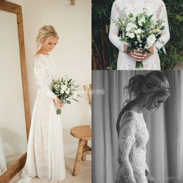 Wholesale White Dress Design Wedding Muslims - New Design Long Sleeve Sheath Wedding Dresses Backless Vintage Illusion Full Lace Floor Length 2017 Bohemia Bridal Gowns for Summer Wedding