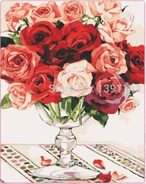 Wholesale Needlework Charms - Needlework DIY diamond painting Full embroidery 3d cross stitch 40X50 needlwork diamond Delicate and charming rose at the table