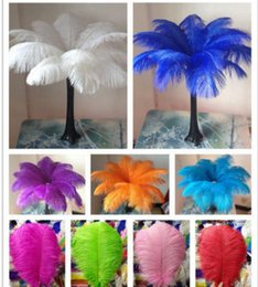 Wholesale desktop decorations - 14-16inch Ostrich Feather Plumes for Wedding Centerpiece Table Party Desktop decoration beautiful feathers DIY Party Decorative KKA3093