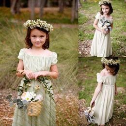 Wholesale Toddler Chiffon Ruffle Shorts - Bohemian Toddler Sage Chiffon Flower Girls Dresses For Weddings 2016 Summer Long Cheap Tiered Ruffles Birthday Communion Gowns Short Sleeves