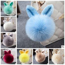Wholesale Ear Bunny - 17 Colors Faux Fox Fur Pompom Keychain Fluffy Rabbit Ear Ball Key Chain Keyring Bag Charms Pendant Bunny Bag Accessories CCA7277 100pcs