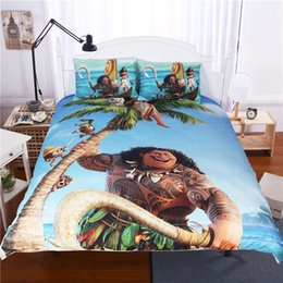 Wholesale Machine Prints - Bedding Set Suits 3pcs Moana Cartoon Cotton bed Quilt Cover Pillowcase Bedding Set Suits Home Textile Twin Full Queen king