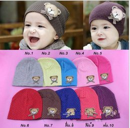 Wholesale Crocheted Kids Hat For Sale - Toddler Newborn Baby Warm Winter Hats Crochet Cute Bear Kids Children Cotton Infant Beanie Hats Boys Girls Caps Hot Sales for Christmas Gift