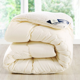 Wholesale Microfiber Quilt - Wholesale-Camelhair warm winter wool quilt thicken comforter duvet blanket Lamb Down Fabric filling king queen size single double Cashmere