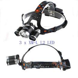 CREE 3 x XM-L L2 LED Başkanı işık Boruit 8000LM kafa Lambası LED Far Far Başkanı Torch Fener USB Lambası cheap x cree xm l2 led nereden x cree xm l2 led tedarikçiler