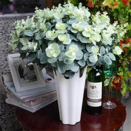 Wholesale Simulation Grass - Artificial Eucalyptus Plant Greenery Simulation Green Eucalyptus Coins Grass Plastic Plants 47cm for Green Wall Decoration