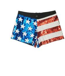 Wholesale Pole Clothes - Nightclub ds performance short pants American flag sequined shorts stage female pole dance hip-hop modern dance clothes female pants
