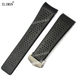 Wholesale 22mm Silicone Watch Strap - FOR TAG IN STOCK Watch Bands 22mm 24mm Watchbands for Tag Black Diving Silicone Rubber Holes Band Strap Stainless Steel Replacement Golden