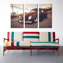 Wholesale Volkswagen Oil - 3 Picture Combination Wall Art VW Beetle Volkswagen Vintage Classic Retro Car Supercar Canvas Prints Picture Painting Wall Decor