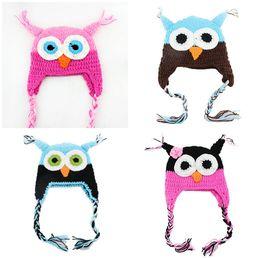 Wholesale Knit Owl Hat For Newborn - Toddler Owl Crochet Knit Woolly EarFlap Hat Baby Handmade crochet Hat childrens handmade owl Knitted hat For Choose 0-2T