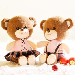 Wholesale Teddy Bears Inches - Kawaii 7 inch soft teddy bear plush toys DIY stuffed wedding Dolls children birthday Christmas gifts