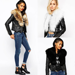 Wholesale Outwear Jacket Woman Leather - New Fashion Black Leather Jackets for Women with Faux Fur Collar Autumn Winter Warm Female Outwear Coats FS3141