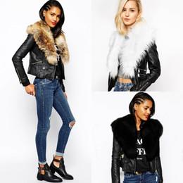 Wholesale Short Leather Jackets For Women - New Fashion Black Leather Jackets for Women with Faux Fur Collar Autumn Winter Warm Female Outwear Coats FS3141
